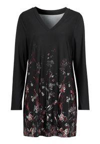 Czarna tunika Cellbes z długim rękawem, z dekoltem w serek, elegancka