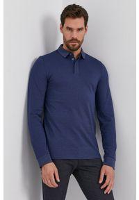 BOSS - Boss - Longsleeve. Kolor: niebieski. Materiał: bawełna, dzianina, materiał. Długość rękawa: długi rękaw. Wzór: gładki