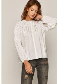 Biała koszula medicine casualowa, długa, z aplikacjami, ze stójką