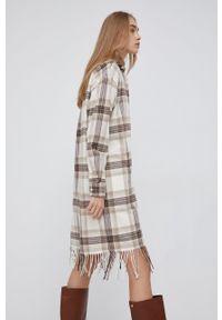 Polo Ralph Lauren - Sukienka bawełniana. Typ kołnierza: polo. Kolor: beżowy. Materiał: bawełna. Długość rękawa: długi rękaw