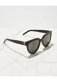 SAINT LAURENT - Czarne okulary przeciwsłoneczne. Kształt: owalne. Kolor: czarny