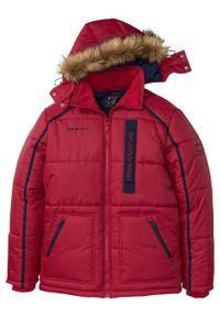 Czerwona kurtka bonprix z kapturem, w prążki