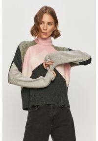 Różowy sweter Vero Moda z długim rękawem, długi, z golfem, na co dzień