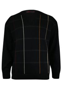 Czarny sweter Kings na zimę, elegancki, z dekoltem w serek