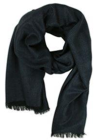 Niebieski szalik Teer jodełka, elegancki, na spacer, na jesień
