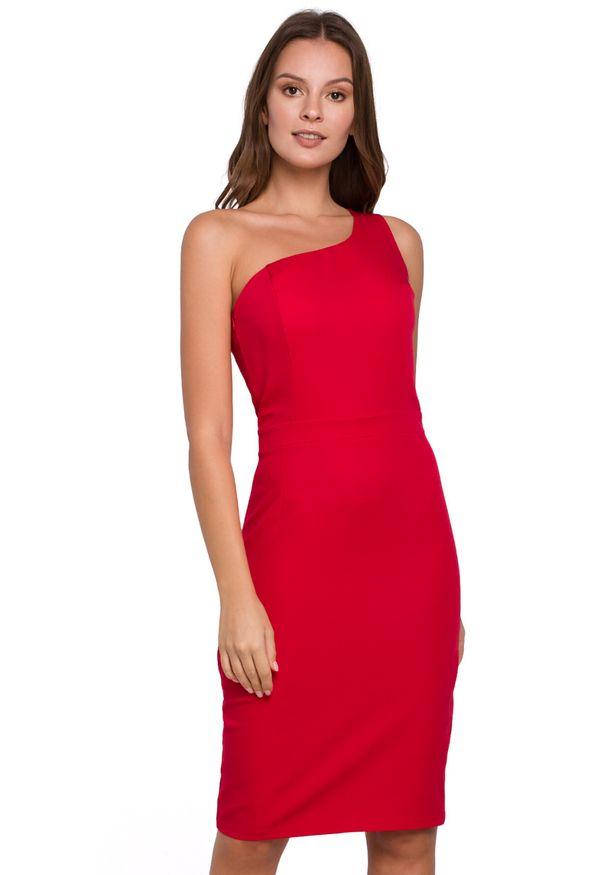 Makover - Elegancka sukienka na jedno ramię z ołówkowym dołem. Okazja: na randkę, do pracy, na imprezę. Typ sukienki: ołówkowe. Styl: elegancki. Długość: midi