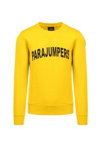 Parajumpers - Bluza PARAJUMPERS CALEB. Kolor: żółty. Materiał: bawełna. Wzór: aplikacja, nadruk