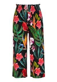 Cellbes Spodnie typu culotte z marszczeniami w pasie. Czarny we wzory female czarny/ze wzorem 38/40. Okazja: na co dzień. Kolor: czarny. Materiał: jersey. Styl: casual