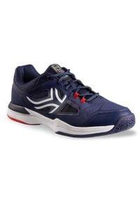 ARTENGO - Buty tenis TS500 męskie na każdą nawierzchnię. Kolor: biały, niebieski, czerwony, wielokolorowy. Materiał: kauczuk. Szerokość cholewki: normalna. Sport: tenis