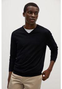 Czarny sweter Mango Man z długim rękawem, casualowy, na co dzień