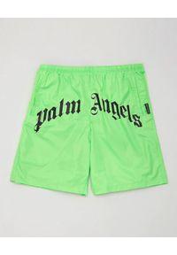 PALM ANGELS - Neonowe szorty kąpielowe. Kolor: zielony. Materiał: materiał. Wzór: aplikacja