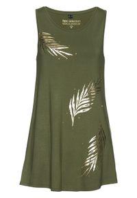 Długi top bonprix ciemny khaki - złoty. Kolor: zielony. Długość: długie