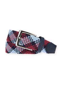Lancerto - Pasek Pleciony w Kolorową Kratę Braid. Materiał: jeans, skóra, poliester, elastan. Wzór: kolorowy. Styl: klasyczny, elegancki