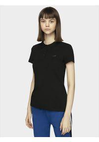 4f - Koszulka polo damska. Okazja: na co dzień. Typ kołnierza: polo. Kolor: czarny. Materiał: jersey, dzianina, materiał, bawełna. Styl: casual