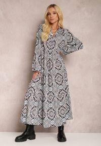 Renee - Granatowa Sukienka Camassia. Okazja: na co dzień. Kolor: niebieski. Materiał: bawełna. Długość rękawa: długi rękaw. Wzór: aplikacja. Styl: casual. Długość: maxi