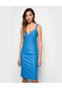 Pinko - PINKO - Skórzana niebieska sukienka z dekoltem Pudico. Okazja: na imprezę. Kolor: niebieski. Długość: midi