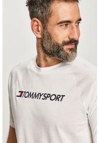 Biały t-shirt Tommy Sport raglanowy rękaw, z nadrukiem, na co dzień, sportowy