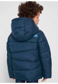Niebieska kurtka bonprix z nadrukiem, z kapturem