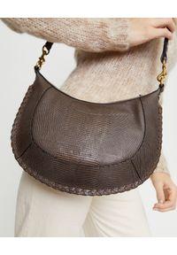 ISABEL MARANT - Brązowa torebka na ramię. Kolor: brązowy. Wzór: aplikacja. Materiał: z tłoczeniem. Rodzaj torebki: na ramię