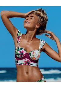 DEL MAAR - Usztywniany top od bikini. Kolor: biały. Wzór: kwiaty, kolorowy