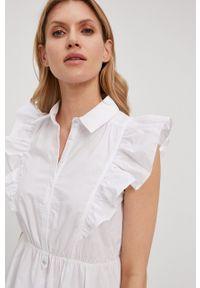 Patrizia Pepe - Sukienka. Kolor: biały. Materiał: tkanina. Wzór: gładki. Typ sukienki: rozkloszowane