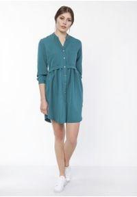 e-margeritka - Sukienka mini koszulowa zielona - 44. Okazja: na co dzień. Typ kołnierza: kołnierzyk stójkowy. Kolor: zielony. Materiał: poliester, materiał. Typ sukienki: koszulowe. Styl: casual. Długość: mini