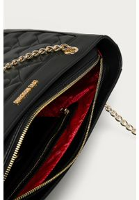 Czarna shopperka Love Moschino skórzana, na ramię, gładkie, duża