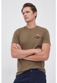 Aeronautica Militare - T-shirt bawełniany. Okazja: na co dzień. Kolor: zielony. Materiał: bawełna. Wzór: aplikacja, nadruk. Styl: casual
