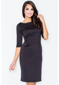 Czarna sukienka Figl elegancka, ołówkowa