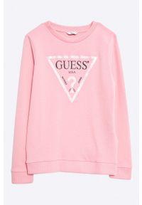 Różowa bluza Guess Jeans z nadrukiem, na co dzień, casualowa