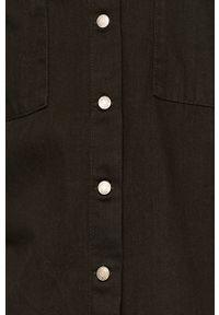 Czarna koszula Noisy may z długim rękawem, długa, na co dzień, casualowa