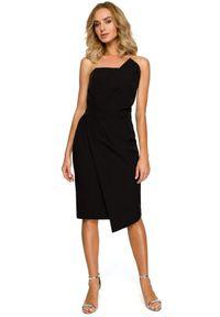 MOE - Elegancka asymetryczna sukienka na wyjątkowe okazje. Typ kołnierza: dekolt gorset. Materiał: elastan, materiał. Typ sukienki: asymetryczne. Styl: elegancki
