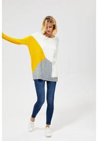 Sweter MOODO w geometryczne wzory, z okrągłym kołnierzem, długi