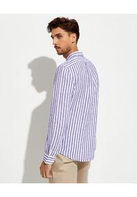 Ralph Lauren - RALPH LAUREN - Lniana koszula w prążki Slim Fit. Typ kołnierza: polo. Kolor: biały. Materiał: len. Długość rękawa: długi rękaw. Długość: długie. Wzór: prążki