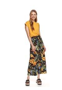 DRYWASH - Gładki t-shirt damski bez rękawów. Kolor: żółty. Długość rękawa: bez rękawów. Wzór: gładki