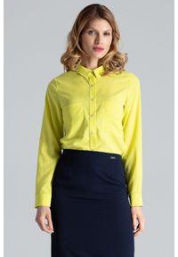 Figl - Zielona Klasyczna Koszula z Podpinanym Rękawem z Kieszeniami. Kolor: zielony. Materiał: elastan, wiskoza, poliester. Styl: klasyczny