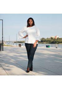 Czarne spodnie Moda Size Plus Iwanek do pracy, w kolorowe wzory, biznesowe, na jesień