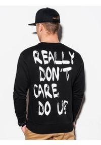 Ombre Clothing - Bluza męska bez kaptura z nadrukiem B1215 - czarna - XXL. Typ kołnierza: bez kaptura. Kolor: czarny. Materiał: bawełna, poliester. Wzór: nadruk #3