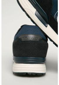 Niebieskie sneakersy Trussardi Jeans na sznurówki, z cholewką