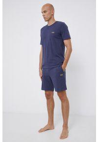 BOSS - Boss - T-shirt. Okazja: na co dzień. Kolor: niebieski. Materiał: bawełna, dzianina. Wzór: gładki. Styl: casual