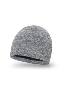 Zimowa czapka męska PaMaMi - Jasnoszara mulina. Kolor: szary. Materiał: akryl. Sezon: zima. Styl: młodzieżowy, klasyczny