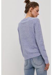 Vero Moda - Sweter. Okazja: na co dzień. Kolor: fioletowy. Materiał: dzianina. Długość rękawa: raglanowy rękaw. Styl: casual
