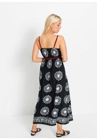 Sukienka bonprix czarny z nadrukiem. Kolor: czarny. Długość rękawa: na ramiączkach. Wzór: nadruk. Długość: maxi