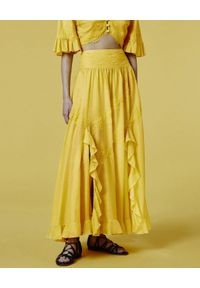 Ermanno Firenze - ERMANNO FIRENZE - Żółta spódnica z koronką i falbankami. Kolor: żółty. Materiał: koronka. Wzór: koronka. Sezon: lato, wiosna
