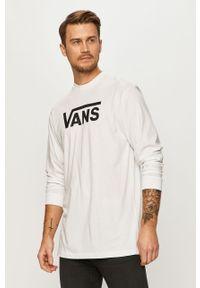 Biała koszulka z długim rękawem Vans casualowa, na co dzień, z nadrukiem