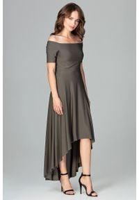 e-margeritka - Sukienka wizytowa bez ramion asymetryczna oliwkowa - l. Okazja: na ślub cywilny, na urodziny, na wesele, na imprezę. Kolor: oliwkowy. Materiał: materiał, poliester, elastan. Wzór: moro. Sezon: lato, jesień. Typ sukienki: asymetryczne. Styl: wizytowy