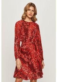 Brązowa sukienka MAX&Co. z długim rękawem, w kwiaty, prosta, na co dzień