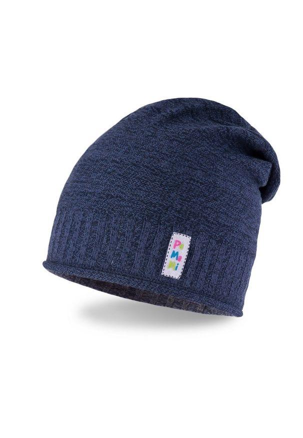 Wiosenna czapka dziewczęca PaMaMi - Ciemnoniebieski. Kolor: niebieski. Materiał: bawełna, elastan. Sezon: wiosna