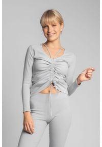 MOE - Prążkowana Bluzka z Troczkami - Popielata. Kolor: szary. Materiał: prążkowany