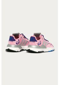 Różowe buty sportowe adidas Originals z cholewką, na średnim obcasie, na sznurówki, na obcasie